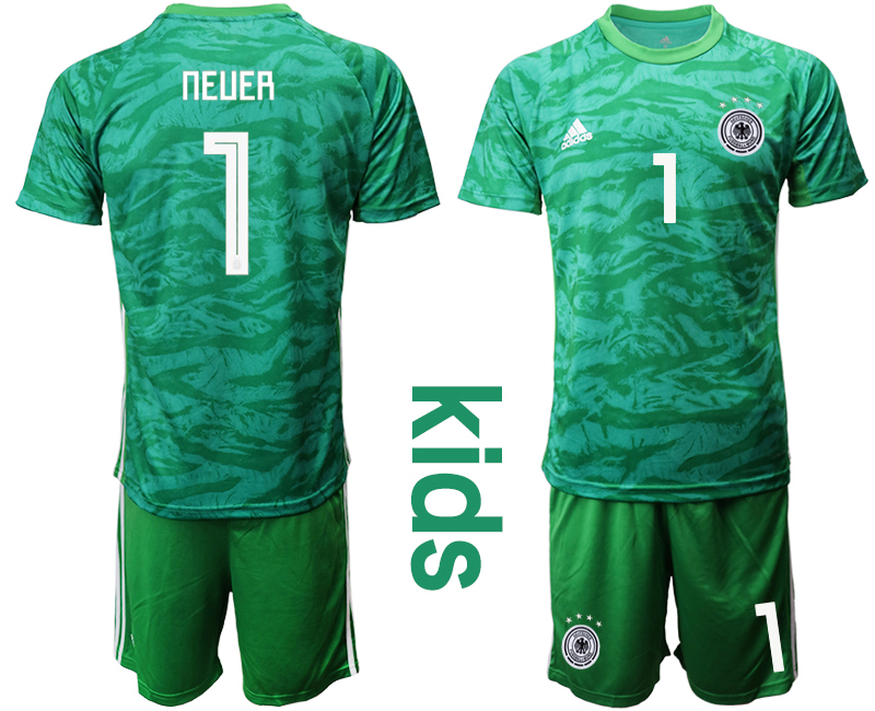 2019-20 Germany 1 NEUER Green Goalkeeper Youth Soccer Jersey