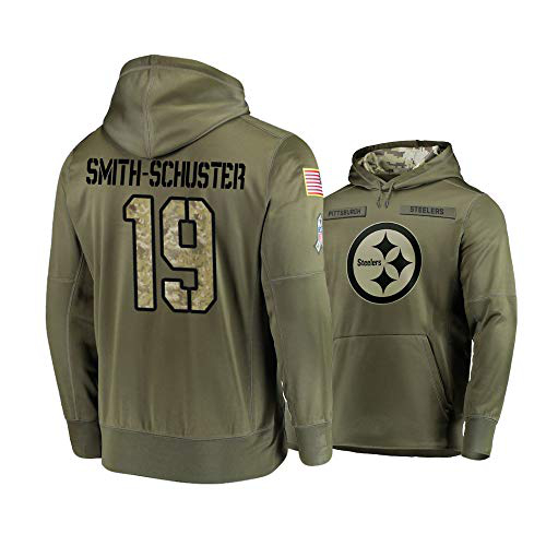 Nike Steelers 19 JuJu Smith-Schuster 2019 Salute To Service Stitched Hooded Sweatshirt