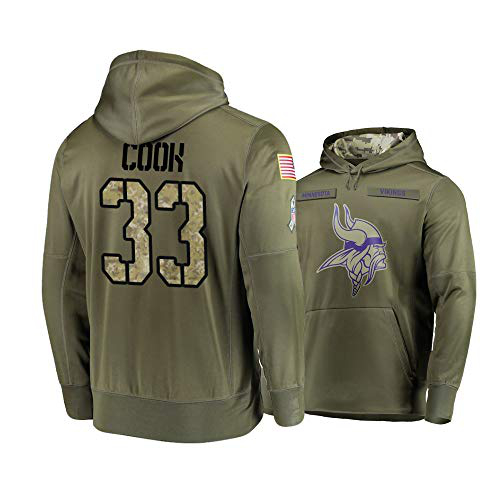 Nike Vikings 33 Dalvin Cook 2019 Salute To Service Stitched Hooded Sweatshirt