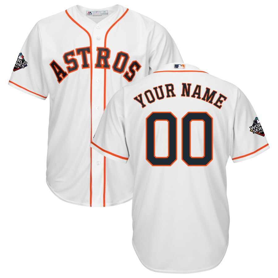 Astros Customized White 2019 World Series Bound Cool Base Jersey
