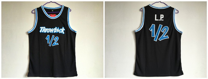 Throwback L.P. 12 Black Stitched Basketball Jersey