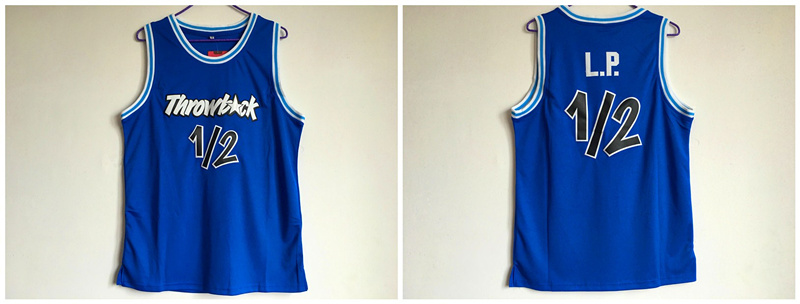 Throwback L.P. 12 Blue Stitched Basketball Jersey