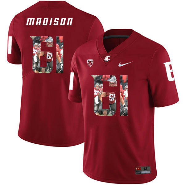 Washington State Cougars 61 Cole Madison Red Fashion College Football Jersey