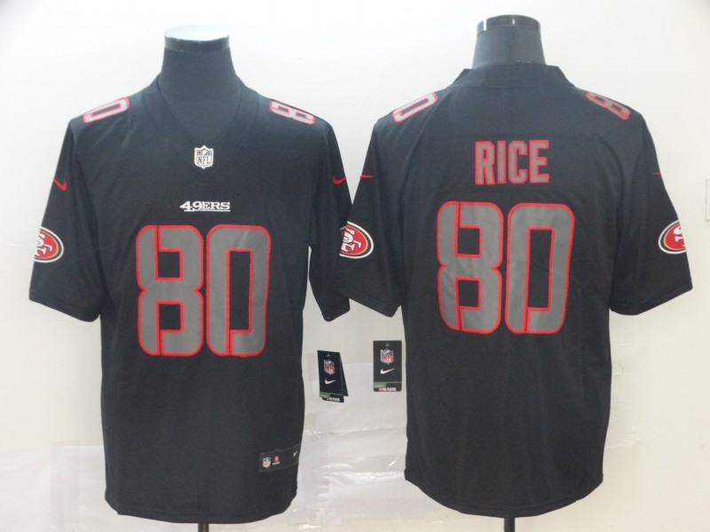 Nike 49ers 80 Jerry Rice Black Impact Rush Limited Jersey