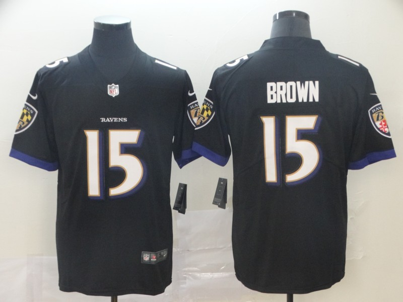 Nike Ravens 15 Marquise Brown Black Alternate Vapor Untouchable Limited Jersey