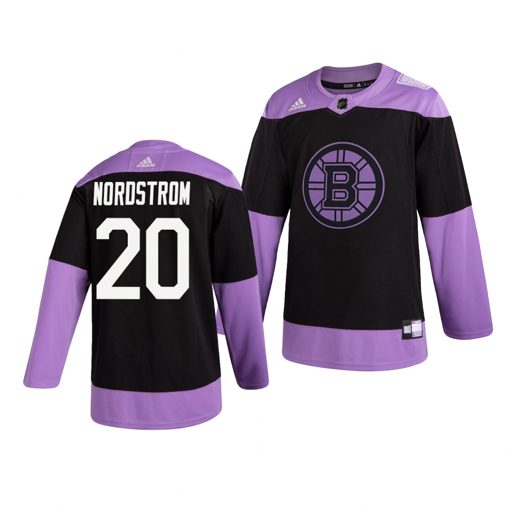 Bruins 20 Joakim Nordstrom Black Purple Hockey Fights Cancer Adidas Jersey