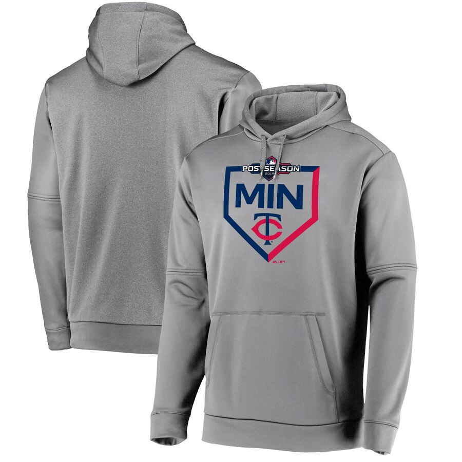 Minnesota Twins Majestic 2019 Postseason Dugout Authentic Pullover Hoodie Gray
