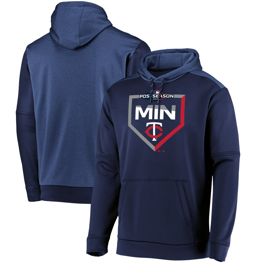 Minnesota Twins Majestic 2019 Postseason Dugout Authentic Pullover Hoodie Navy