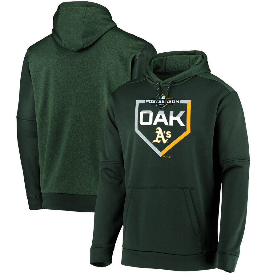 Oakland Athletics Majestic 2019 Postseason Dugout Authentic Pullover Hoodie Green