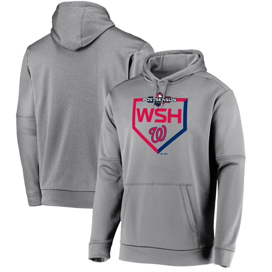 Washington Nationals Majestic 2019 Postseason Dugout Authentic Pullover Hoodie Gray