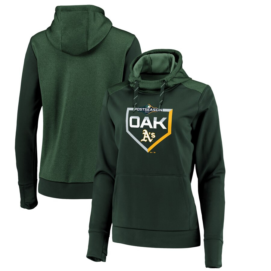 Oakland Athletics Majestic Women's 2019 Postseason Dugout Authentic Pullover Hoodie Green