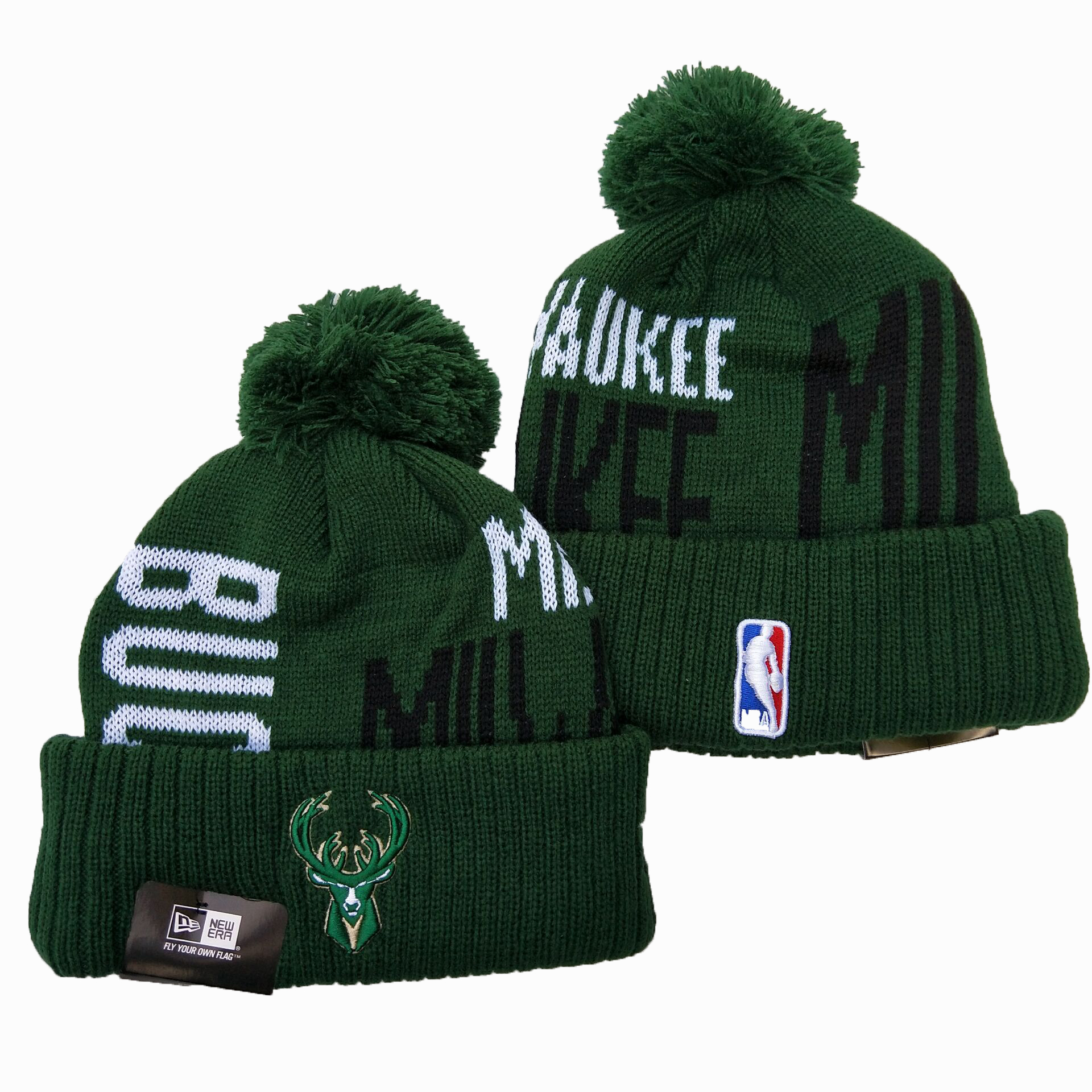 Bucks Team Logo Green Wordmark Cuffed Pom Knit Hat YD