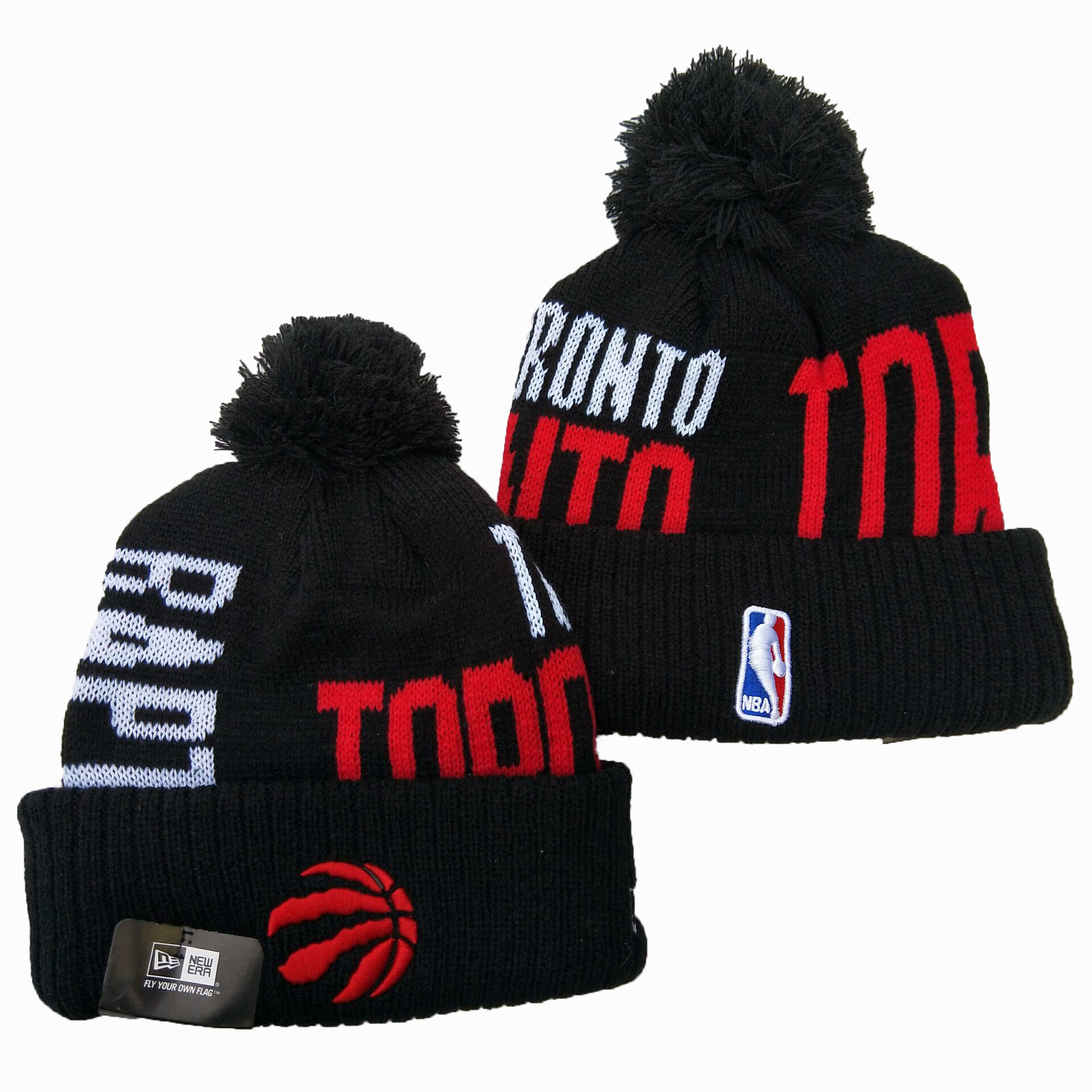 Raptors Team Logo Black Wordmark Cuffed Pom Knit Hat YD