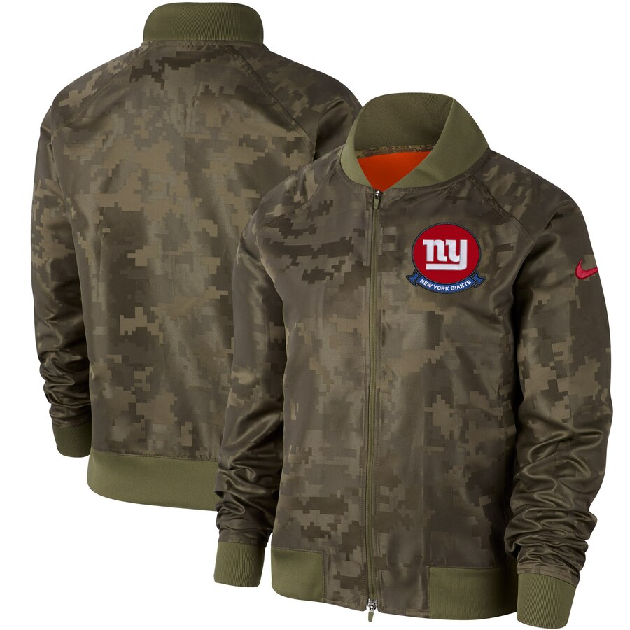 Women's New York Giants Nike Olive 2019 Salute to Service Full Zip Bomber Jacket