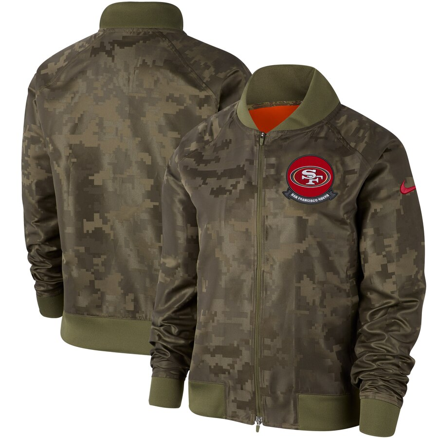 Women's San Francisco 49ers Nike Olive 2019 Salute to Service Full Zip Bomber Jacket