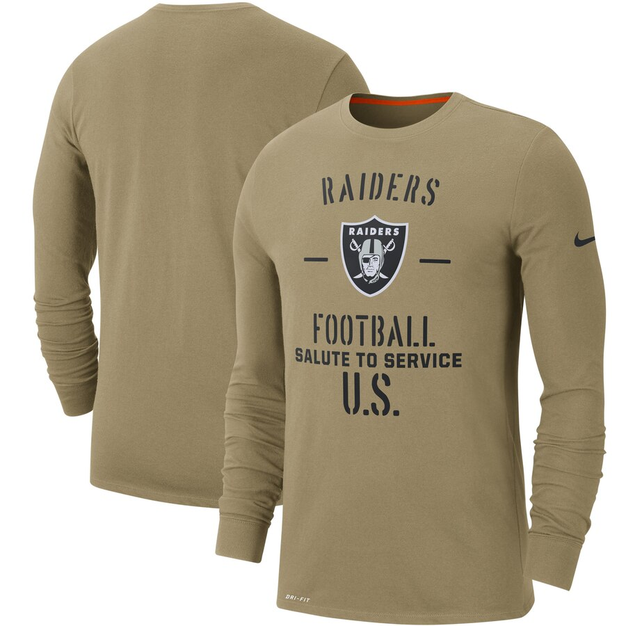 Men's Oakland Raiders Nike Tan 2019 Salute to Service Sideline Performance Long Sleeve Shirt