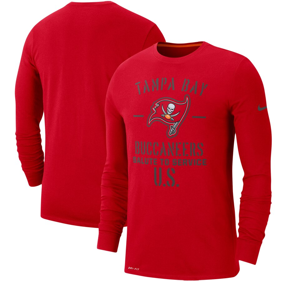 Men's Tampa Bay Buccaneers Nike Red 2019 Salute to Service Sideline Performance Long Sleeve Shirt
