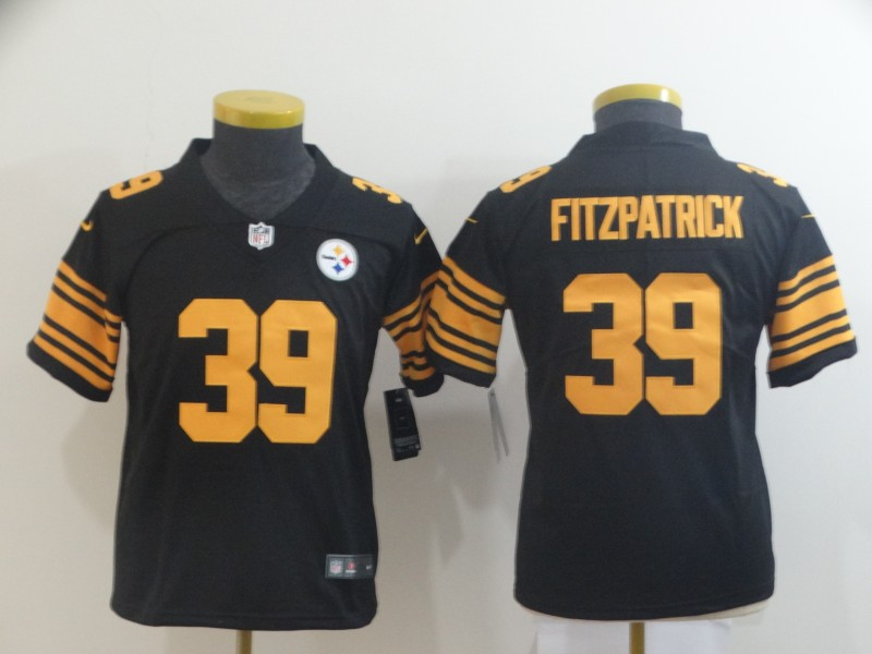 Nike Steelers 39 Minkah Fitzpatrick Black Youth Color Rush Limited Jersey