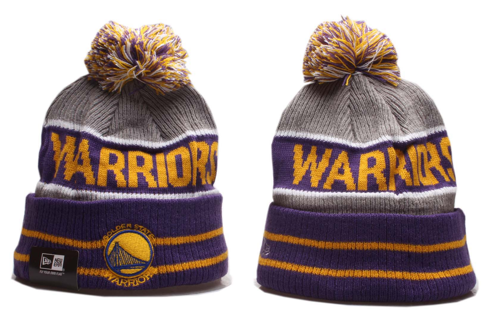 Warriors Team Logo Gray Purple Pom Knit Hat YP