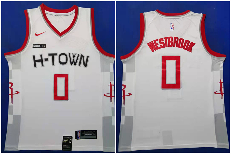 Rockets 0 Russell Westbrook White 2019-20 Nike City Edition Swingman Jersey