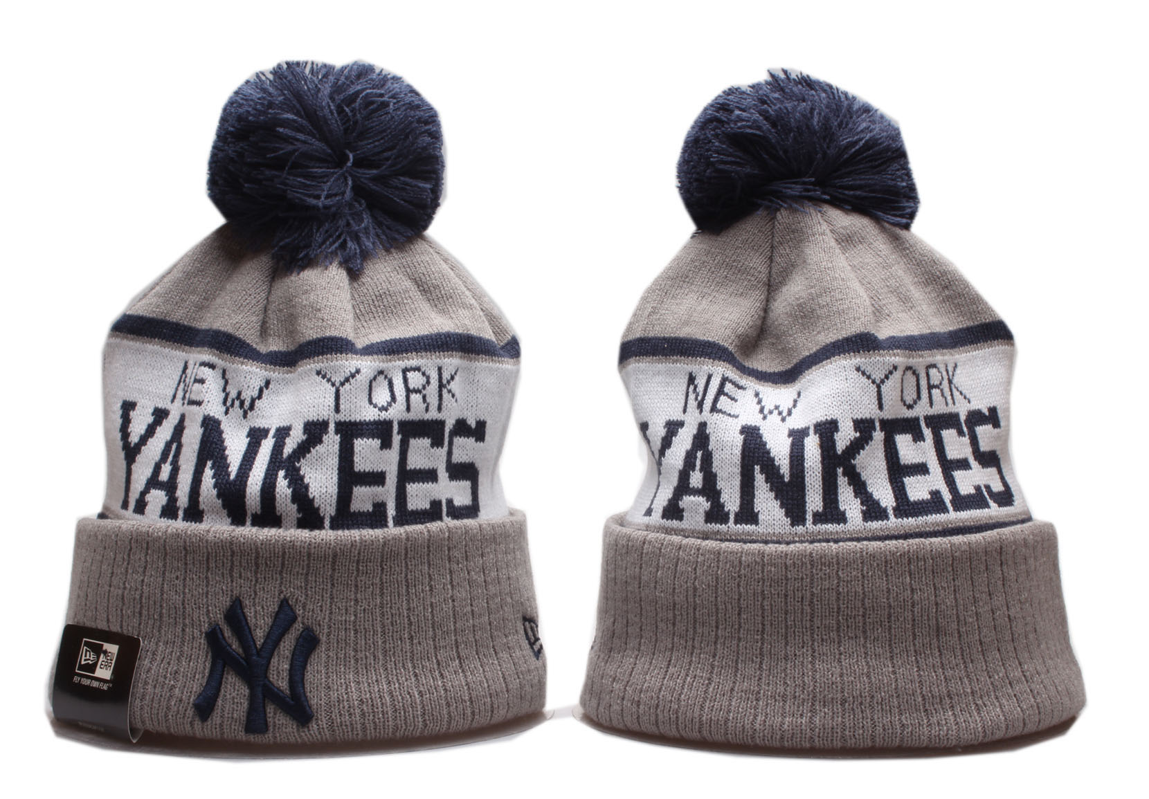 Yankees Team Logo Gray Wordmark Cuffed Pom Knit Hat YP