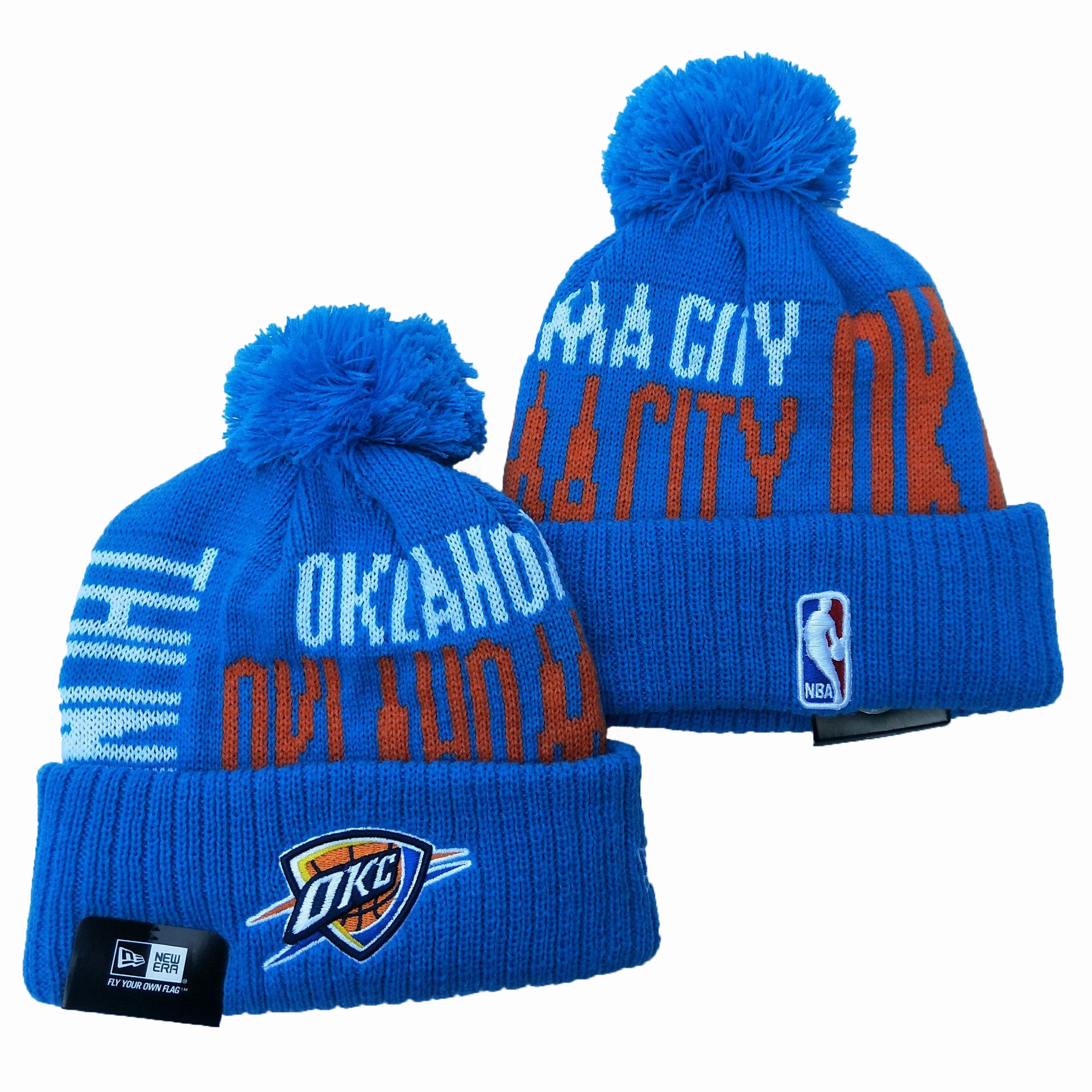 Oklahoma City Thunder Team Logo Blue Pom Knit Hat YD