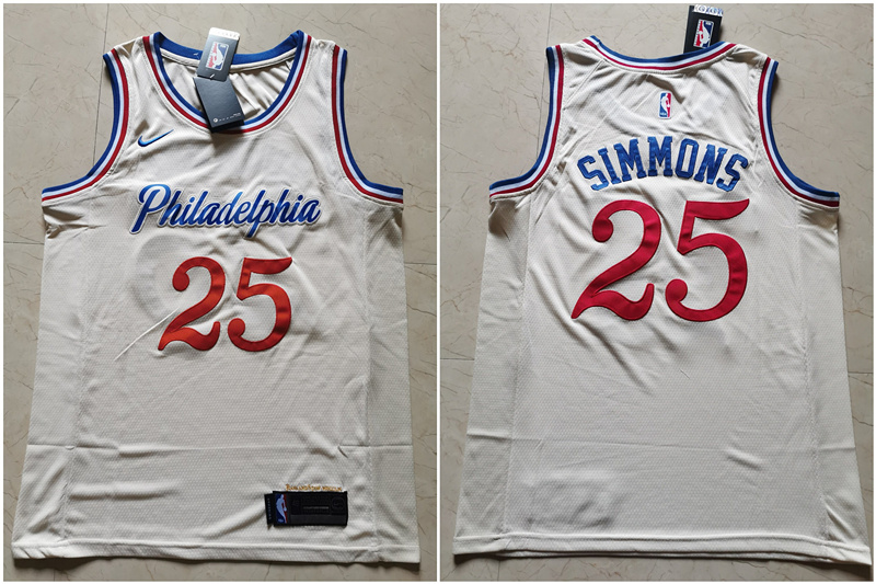 76ers 25 Ben Simmons Cream 2019-20 City Edition Nike Swingman Jersey
