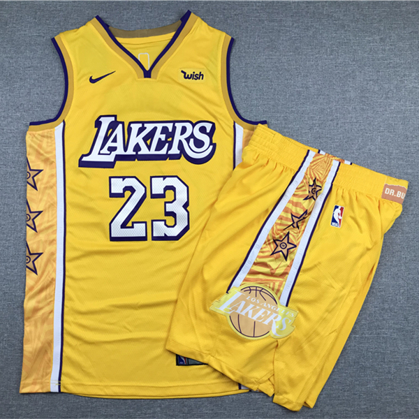 Lakers 23 Lebron James Yellow Nike Authentic Jersey(With Shorts)