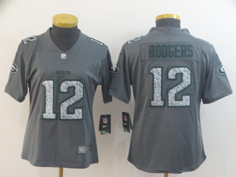 Nike Packers 12 Aaron Rodgers Gray Camo Women Vapor Untouchable Limited Jersey