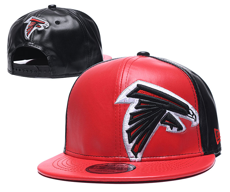 Falcons Team Logo Black Red Leather Adjustable Hat GS