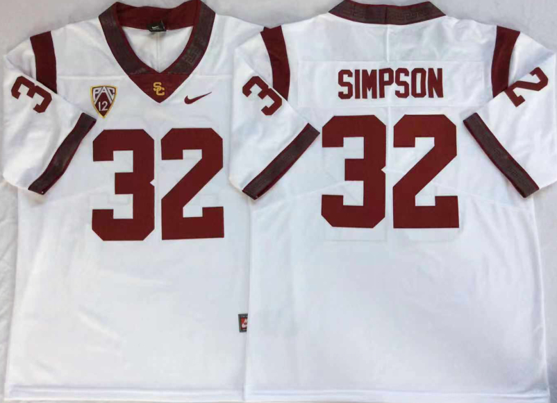 USC Trojans 32 O.J.Simpson White College Football Jersey