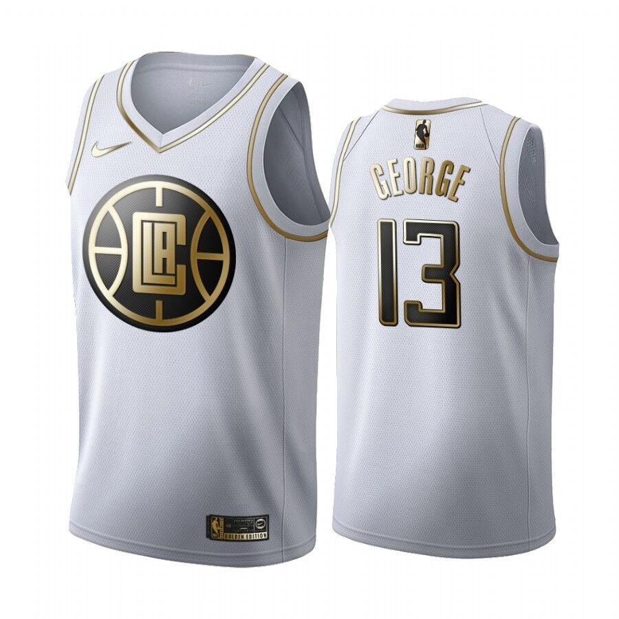 Clippers 13 Paul George White Gold Swingman Jersey