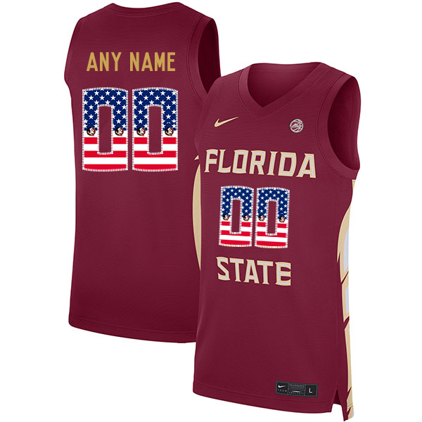 Florida State Seminoles Customized Red Nike USA Flag Basketball College Jersey