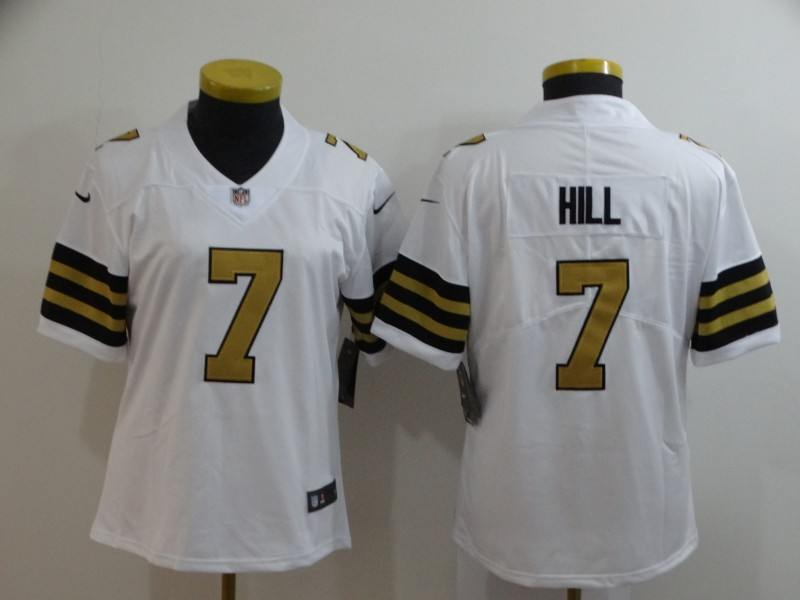 Nike Saints 7 Taysom Hill White Women Color Rush Limited Jersey