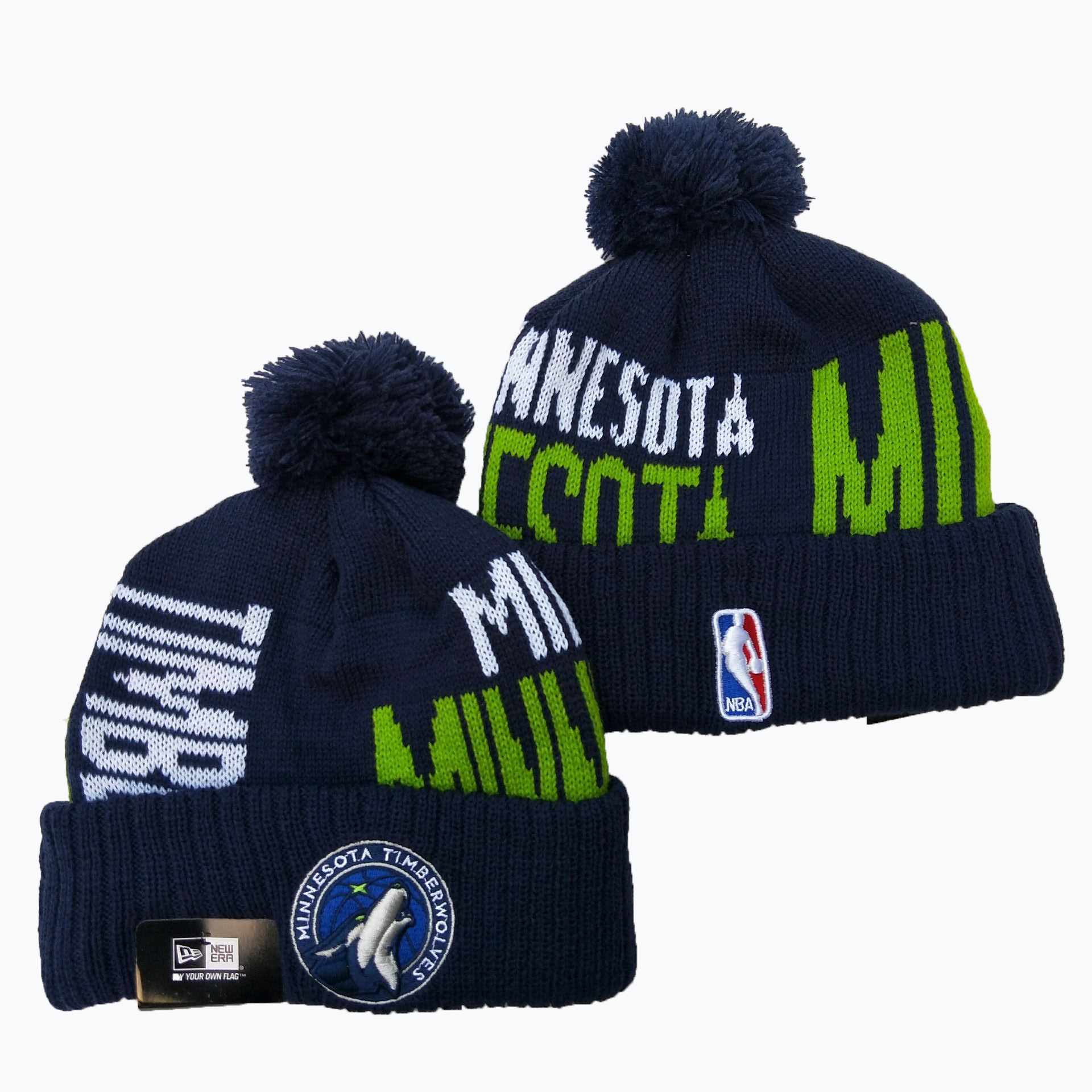 Timberwolves Team Logo Navy Pom Knit Hat YD