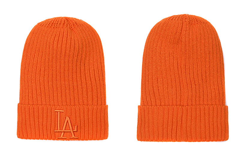 Dodgers Team Logo Orange Pom Knit Hat SG