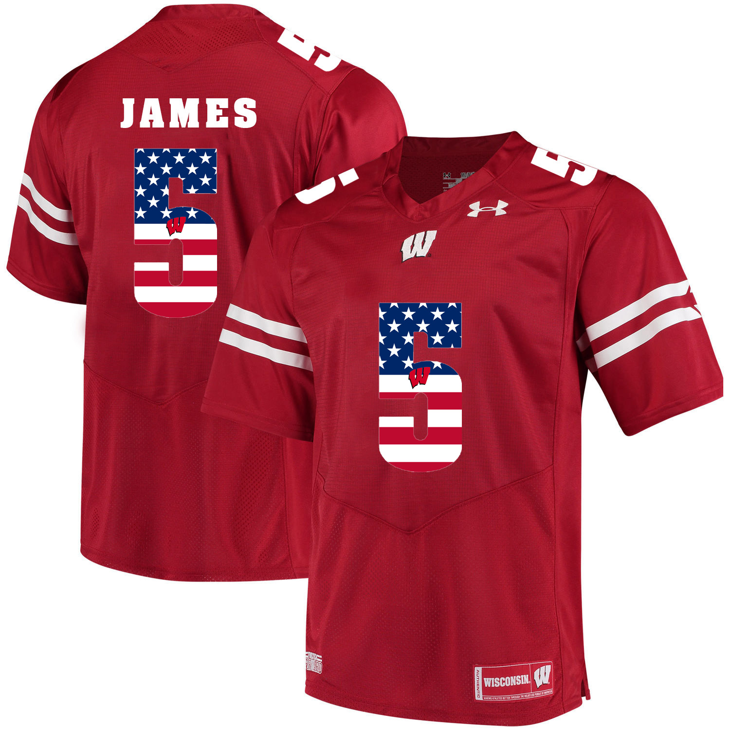 Wisconsin Badgers 5 Chris James Red USA Flag College Football Jersey