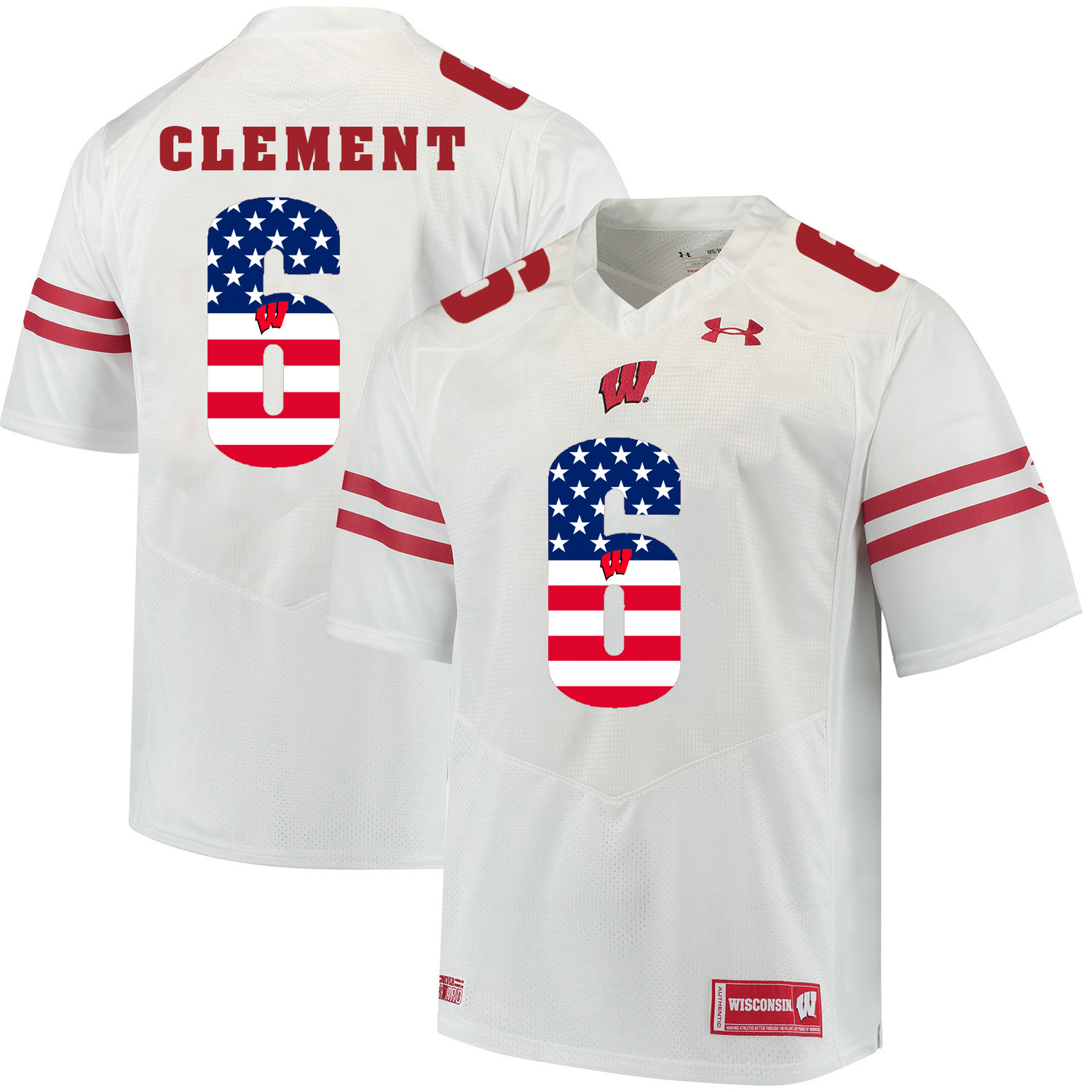 Wisconsin Badgers 6 Corey Clement White USA Flag College Football Jersey