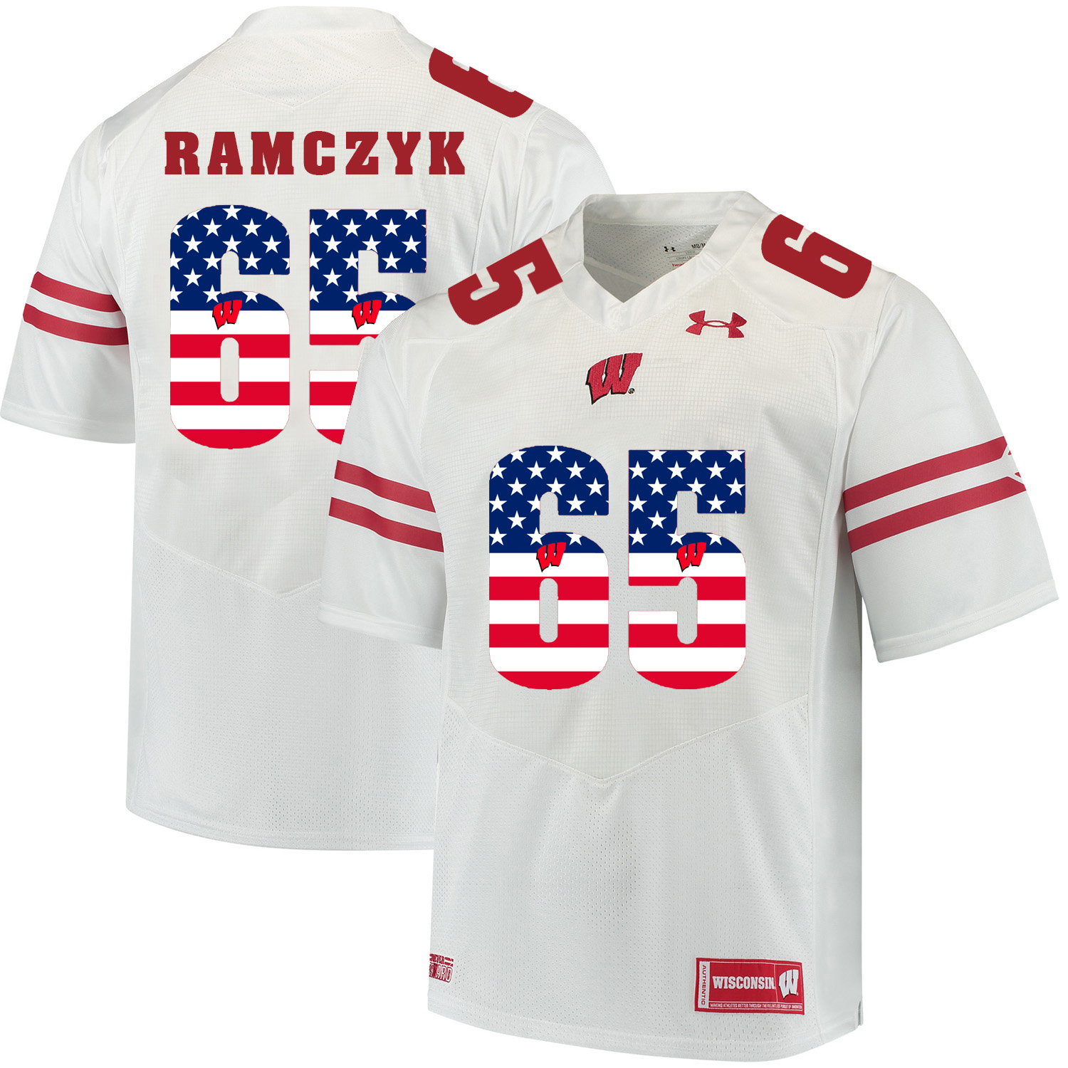 Wisconsin Badgers 65 Ryan Ramczyk White USA Flag College Football Jersey