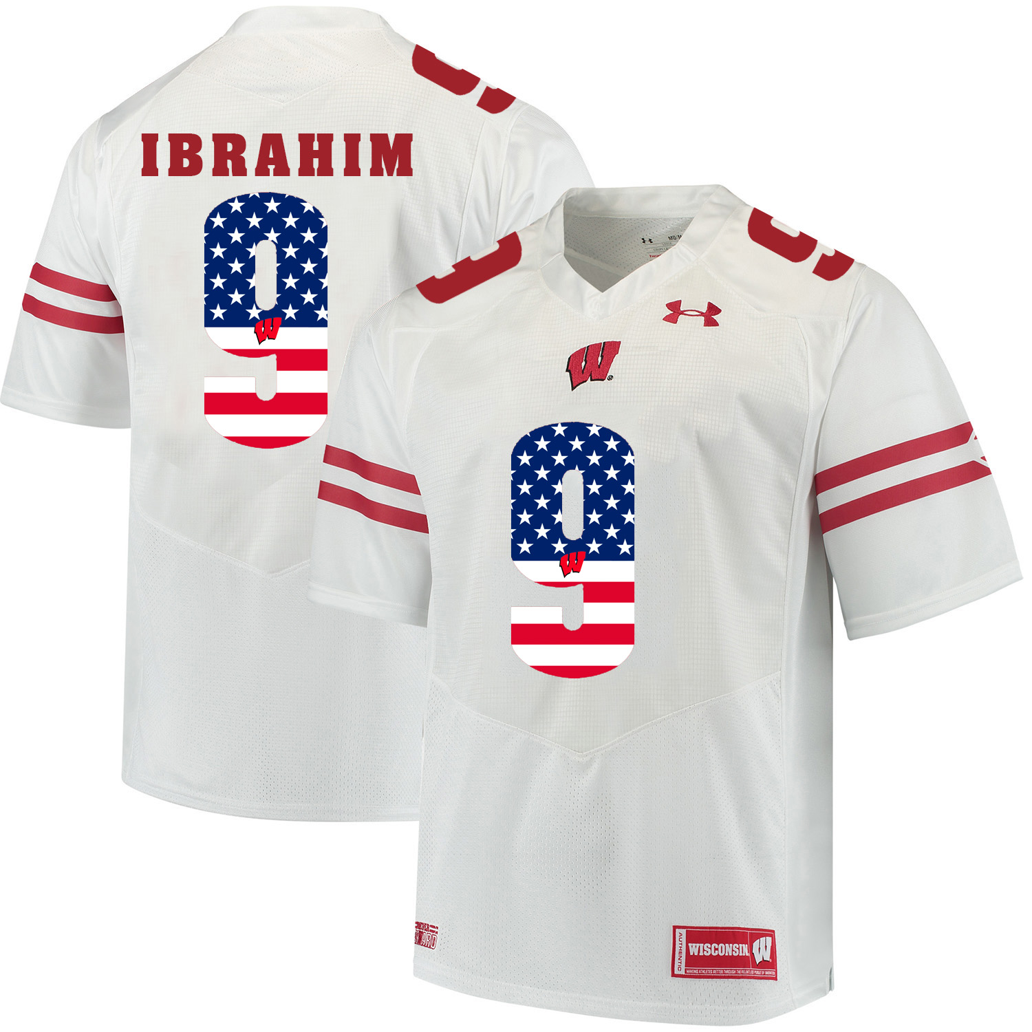 Wisconsin Badgers 9 Rachid Ibrahim White USA Flag College Football Jersey