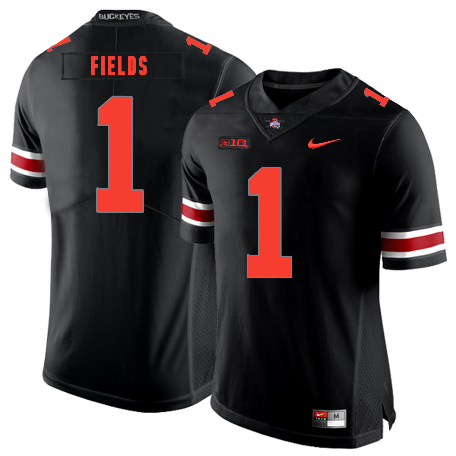 Ohio State Buckeyes 1 Justin Fields Black Shadow Legend Limited Nike College Football Jersey