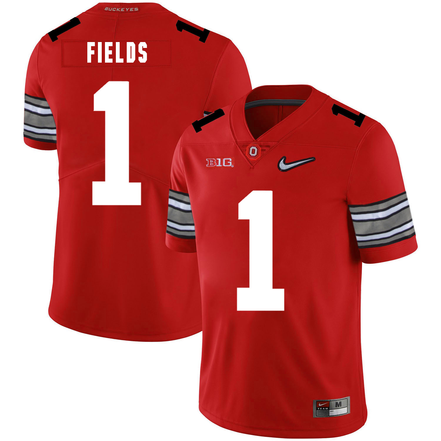Ohio State Buckeyes 1 Justin Fields Red Nike College Football Jersey