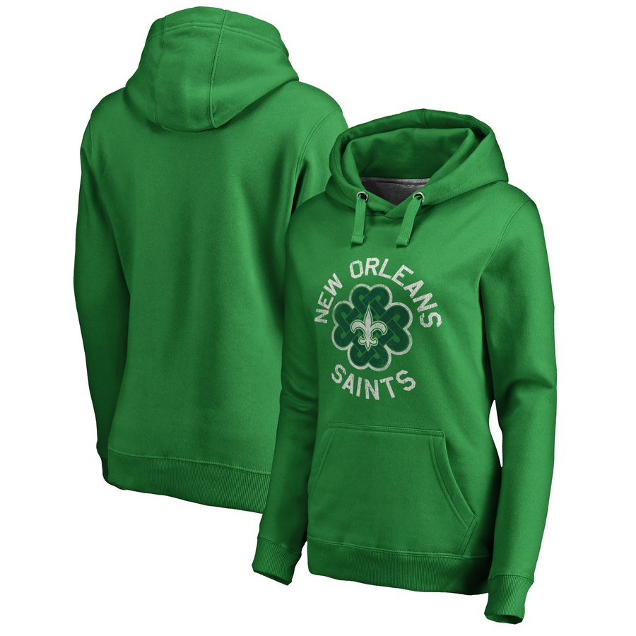 New Orleans Saints NFL Pro Line by Fanatics Branded Women's St. Patrick's Day Luck Tradition Pullover Hoodie Kelly Green