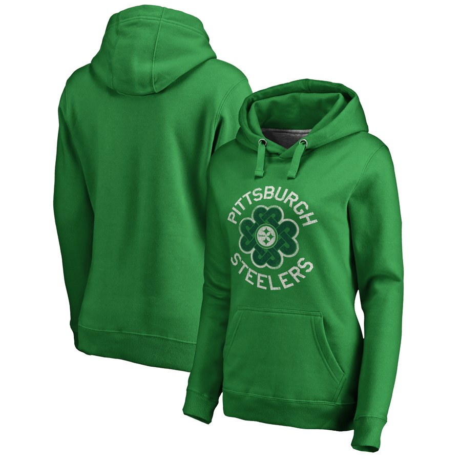 Pittsburgh Steelers NFL Pro Line by Fanatics Branded Women's St. Patrick's Day Luck Tradition Pullover Hoodie Kelly Green