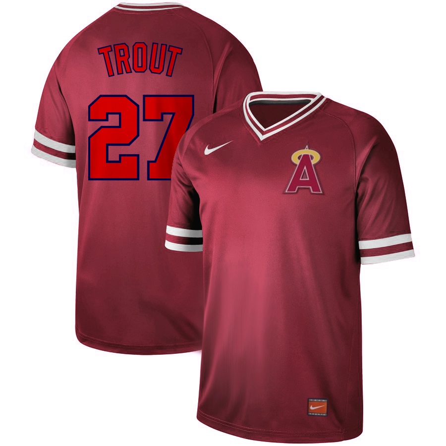 Angels 27 Mike Trout Red Throwback Jersey