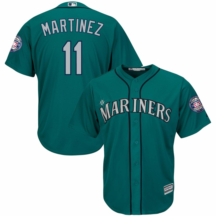 Mariners 11 Edgar Martinez Green 2019 Hall of Fame Induction Patch Cool Base Jersey