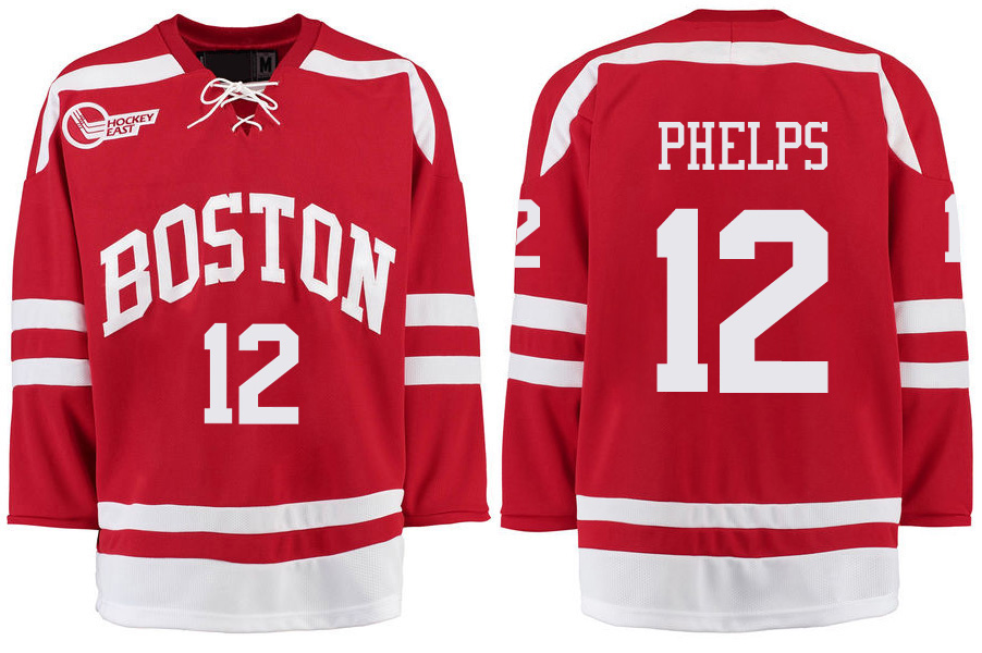 Boston University Terriers BU 12 Chase Phelps Red Stitched Hockey Jersey