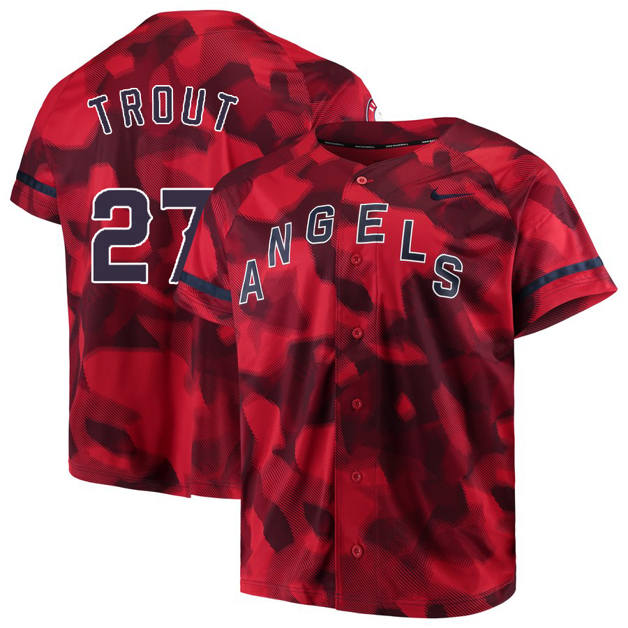 Angels 27 Mike Trout Red Camo Fashion Jersey