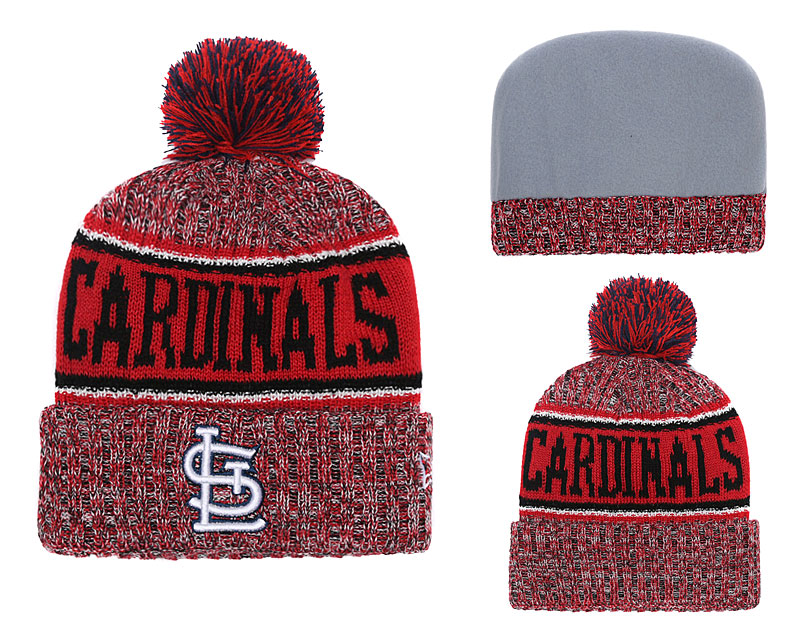 St. Louis Cardinals Team Logo Red Cuffed Knit Hat With Pom YD