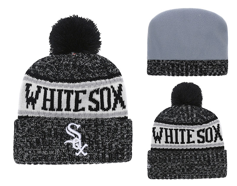 White Sox Team Logo Black Cuffed Knit Hat With Pom YD